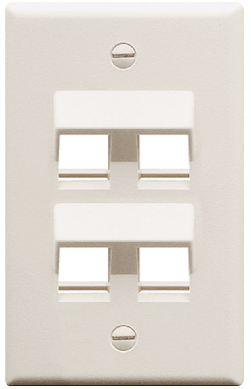 FACEPLATE, CLASSIC, 4 PORT, 1G ANGLED TO