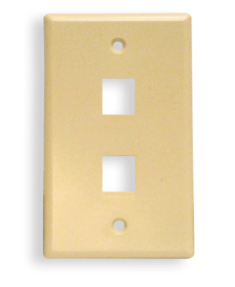 FACEPLATE, CLASSIC, 2 PORT, 1G ALMOND
