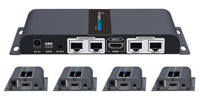 Balun HDMI 1X4 Cat 6 130 FT