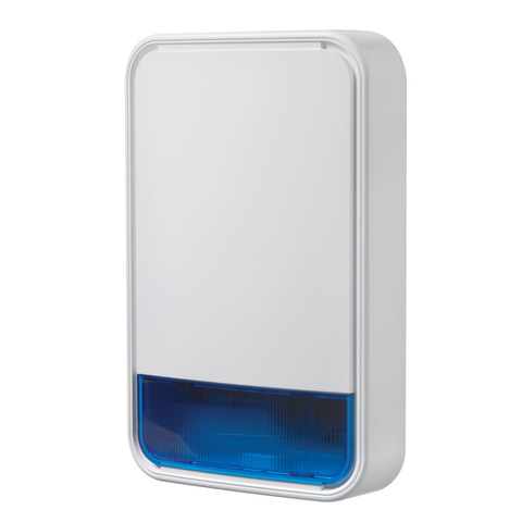 PowerG 915Mhz wireless outdoor siren with Blue lens.